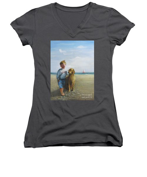 Women's V-Neck T-Shirt (Junior Cut) featuring the painting Boy And His Dog At The Beach by Oz Freedgood