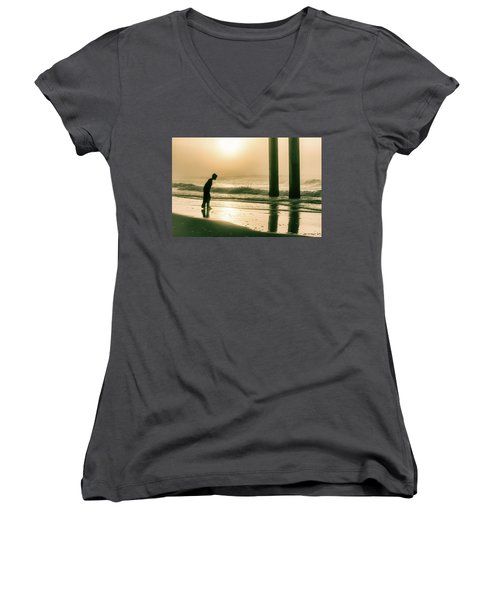Women's V-Neck T-Shirt (Junior Cut) featuring the photograph Boy At Sunrise In Alabama  by John McGraw