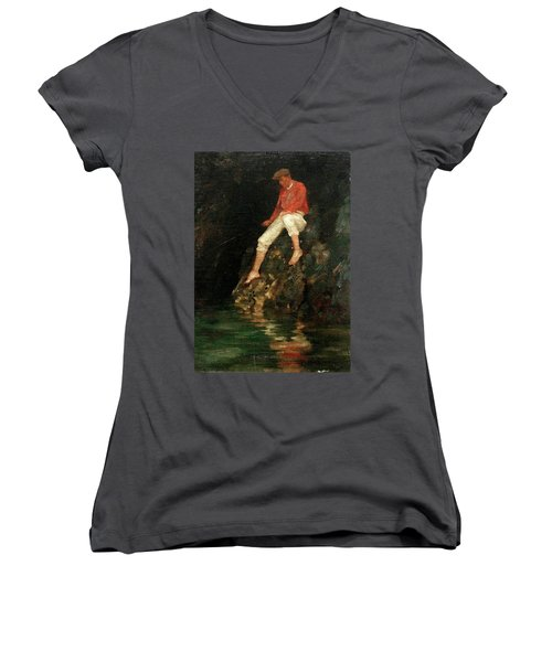 Women's V-Neck T-Shirt (Junior Cut) featuring the painting Boy Fishing On Rocks  by Henry Scott Tuke