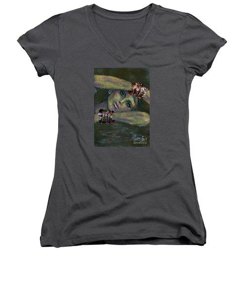 Bracelets  Women's V-Neck T-Shirt (Junior Cut) by P J Lewis