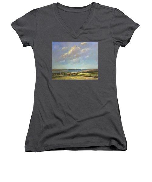 Brancaster Staithes, Norfolk Women's V-Neck T-Shirt (Junior Cut) by Genevieve Brown