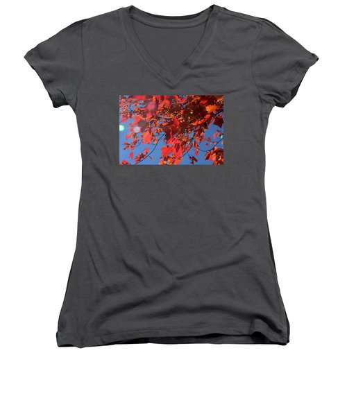Branches Of Red Maple Leaves On Clear Sky Background Women's V-Neck
