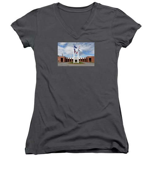 Women's V-Neck T-Shirt (Junior Cut) featuring the photograph Brandeis University Gosman Sports And Convocaton Center by Betty Denise