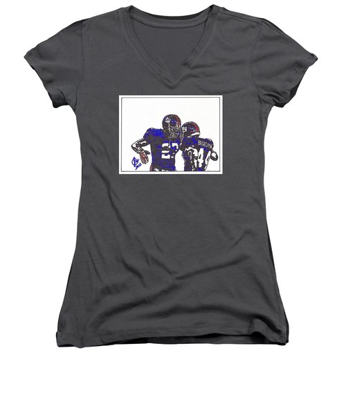 Women's V-Neck T-Shirt (Junior Cut) featuring the drawing Brandon Jacobs And Ahmad Bradshaw by Jeremiah Colley
