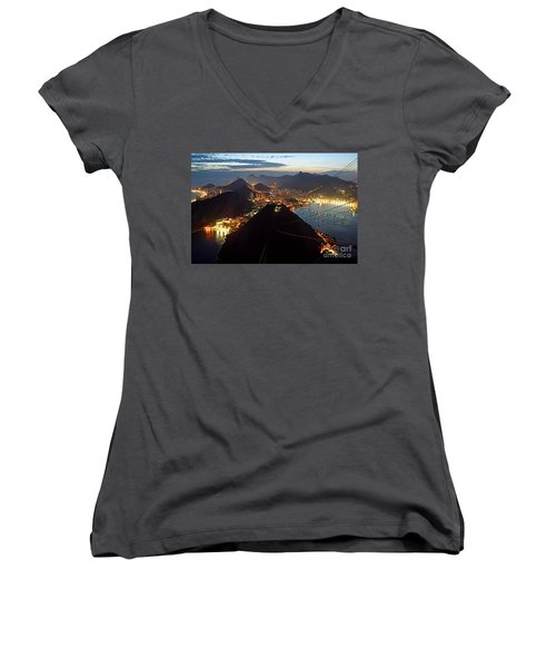 Women's V-Neck featuring the photograph Brasil,rio De Janeiro,pao De Acucar,viewpoint,panoramic View,copacabana At Night by Juergen Held