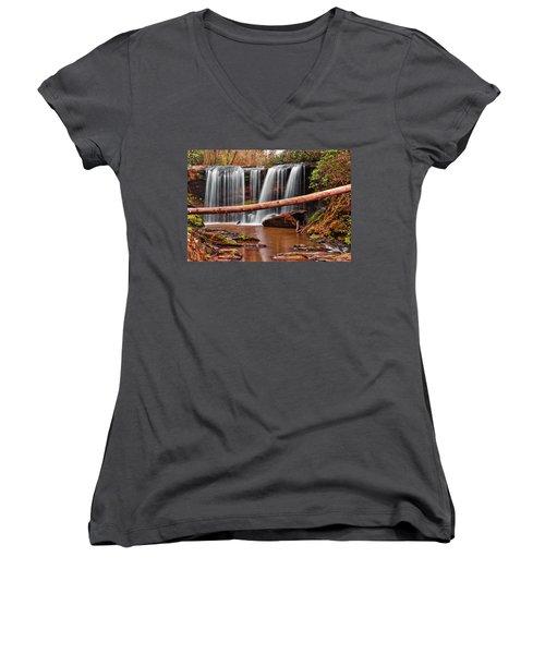 Brasstown Falls 002 Women's V-Neck T-Shirt (Junior Cut) by George Bostian