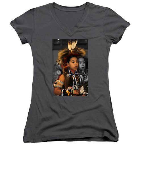 Brave And His Shadow Women's V-Neck T-Shirt (Junior Cut) by Audrey Robillard