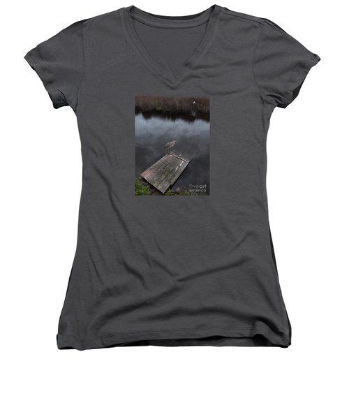 Brave Heron Women's V-Neck T-Shirt (Junior Cut) by Expressionistart studio Priscilla Batzell