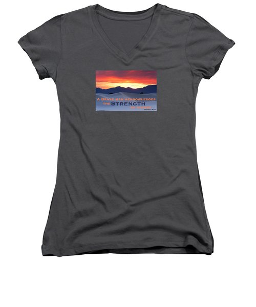 Brave Thoughts Women's V-Neck T-Shirt (Junior Cut) by David Norman