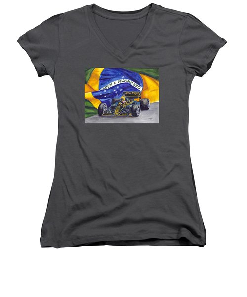 Brazil's Ayrton Senna Women's V-Neck T-Shirt (Junior Cut)