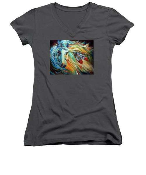 Breaking Dawn Indian War Horse Women's V-Neck (Athletic Fit)