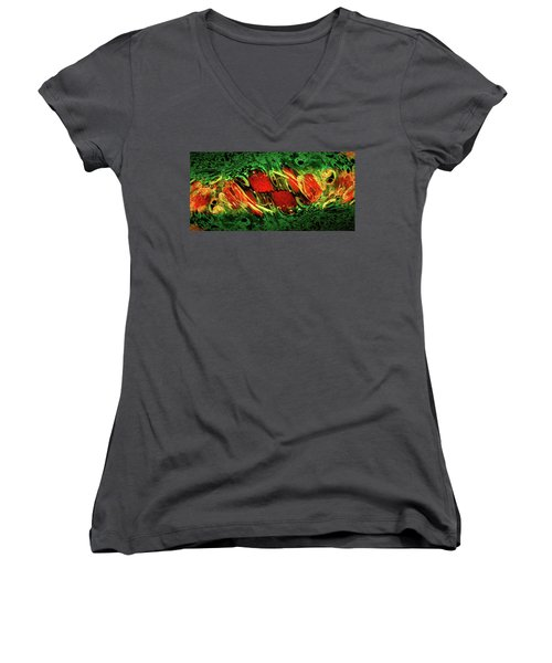 Breaking Out Abstract Women's V-Neck T-Shirt