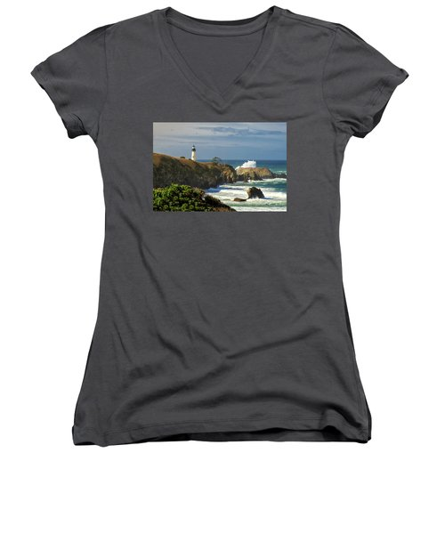 Breaking Waves At Yaquina Head Lighthouse Women's V-Neck
