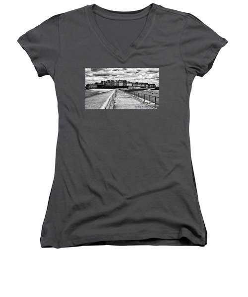 Women's V-Neck T-Shirt featuring the photograph Breakwater Walkway To Intra Muros by Elf Evans