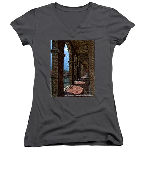 Breezway On The Baker Women's V-Neck T-Shirt (Junior Cut) by Diana Mary Sharpton