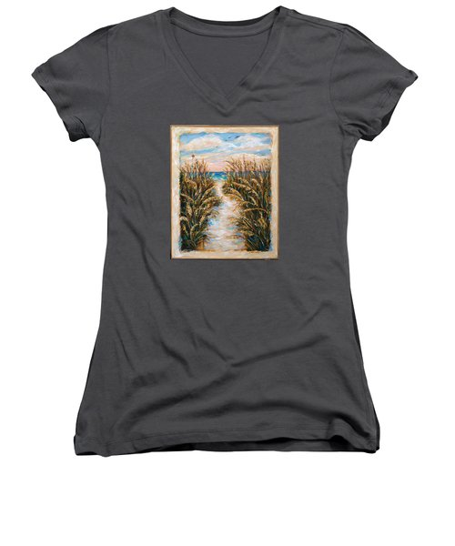 Women's V-Neck T-Shirt (Junior Cut) featuring the painting Breezy Sea Oats by Linda Olsen