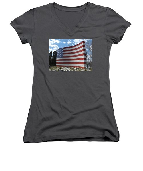 Brick American Flag Women's V-Neck T-Shirt