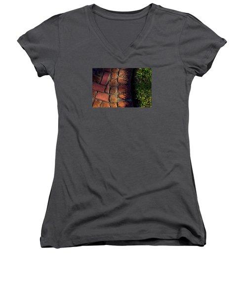 Brick Path In Afternoon Light Women's V-Neck T-Shirt (Junior Cut) by Derek Dean