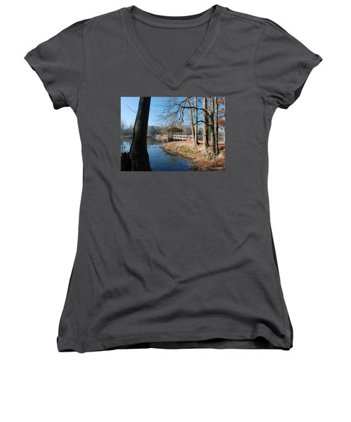 Women's V-Neck T-Shirt (Junior Cut) featuring the photograph Brick Pond Park by Kay Lovingood