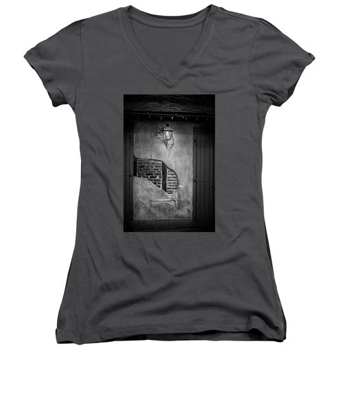 Bricks In The Wall In Black And White Women's V-Neck (Athletic Fit)