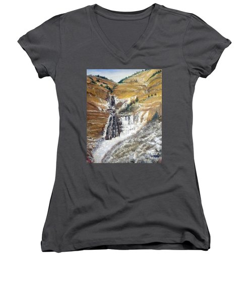 Bridal Veil Falls In Winter Women's V-Neck T-Shirt (Junior Cut) by Sherril Porter