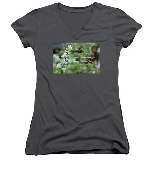 Bridal Wreath Christian Art Women's V-Neck T-Shirt (Junior Cut)