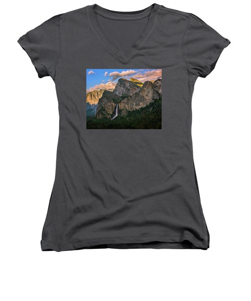 Bridalveil Falls From Tunnel View Women's V-Neck