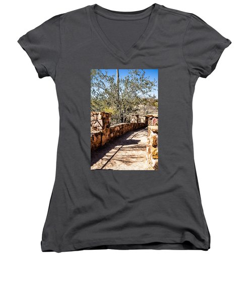 Women's V-Neck T-Shirt (Junior Cut) featuring the photograph Bridge Over Desert Wash by Lawrence Burry