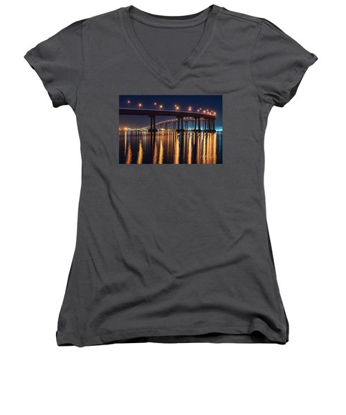 Women's V-Neck (Athletic Fit) featuring the photograph Bridge Bedazzled by Dan McGeorge