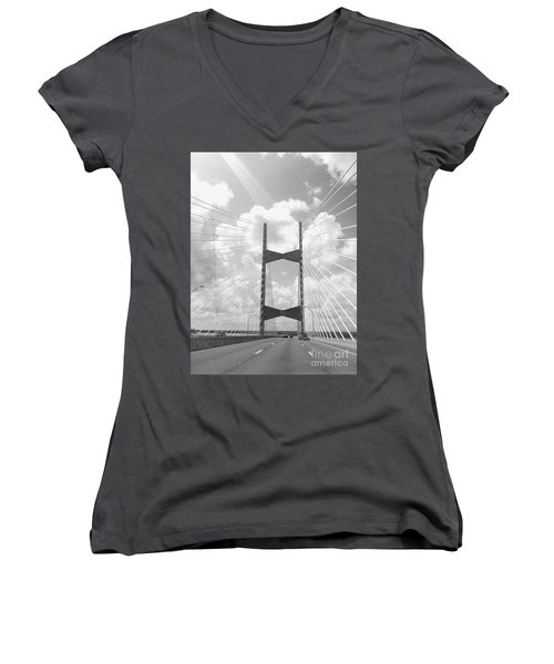 Bridge Clouds Women's V-Neck T-Shirt (Junior Cut) by WaLdEmAr BoRrErO