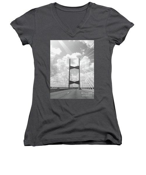Bridge Clouds Women's V-Neck T-Shirt (Junior Cut)