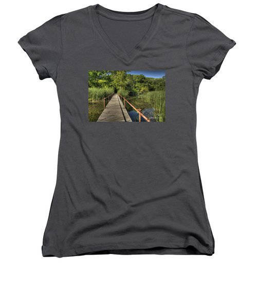 Bridge Into The Forest At Lake Murray Women's V-Neck T-Shirt (Junior Cut) by Tamyra Ayles