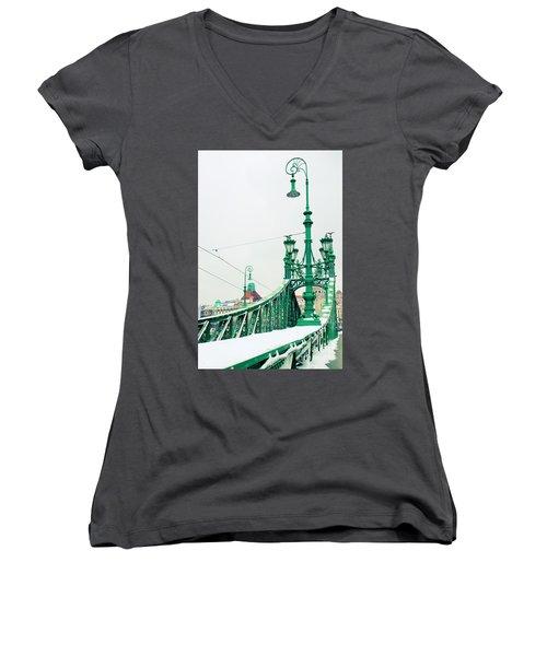 Bridge Of Liberty In Budapest Women's V-Neck T-Shirt