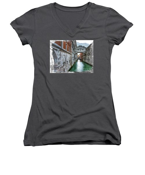 Women's V-Neck T-Shirt (Junior Cut) featuring the photograph Bridge Of Sighs by Tom Cameron