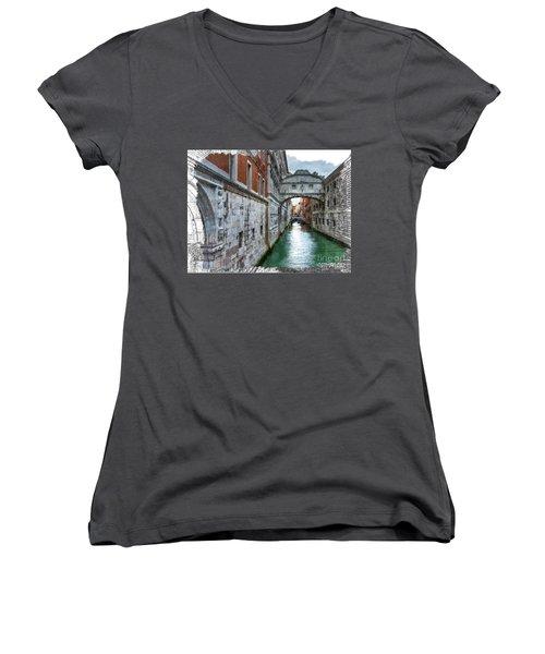Bridge Of Sighs Women's V-Neck T-Shirt (Junior Cut) by Tom Cameron