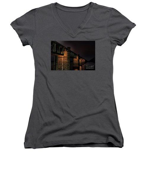 Bridge On Holy River Godavari Women's V-Neck T-Shirt