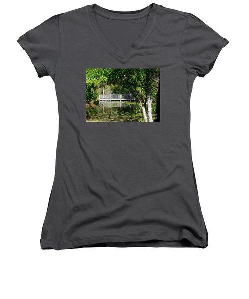 Bridge On Lilly Pond Women's V-Neck T-Shirt (Junior Cut) by Lori Mellen-Pagliaro