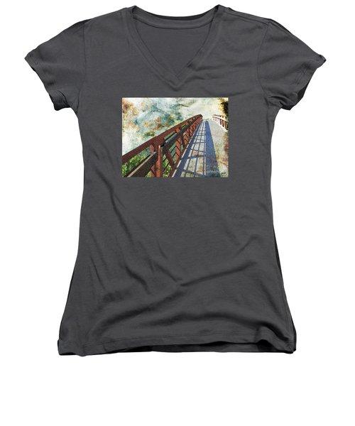 Bridge Over Clouds Women's V-Neck T-Shirt (Junior Cut) by Deborah Nakano