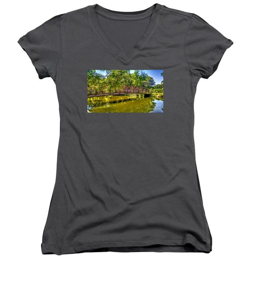 Bridge Over Delaware Canal At Colonial Park Women's V-Neck