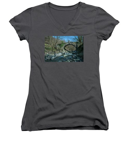Bridge Over Peaceful Waters - Il Ponte Sul Ciae' Women's V-Neck (Athletic Fit)