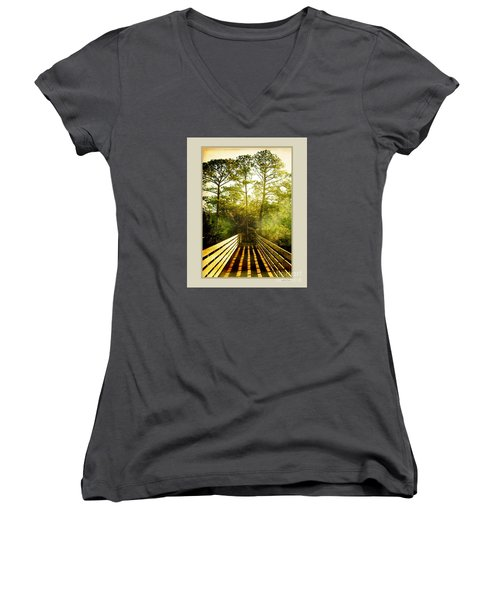 Women's V-Neck T-Shirt (Junior Cut) featuring the photograph Bridge Shadows by Linda Olsen