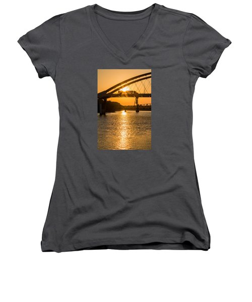 Bridge Sunrise 2 Women's V-Neck T-Shirt (Junior Cut) by Patti Deters