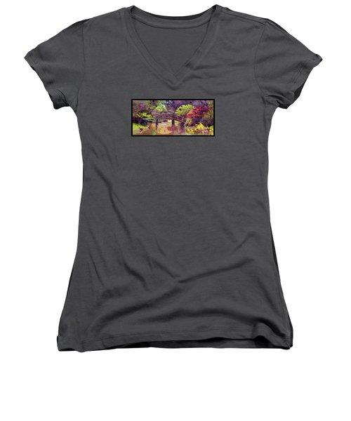 Bridge To Nowhere Women's V-Neck T-Shirt (Junior Cut) by John Lautermilch