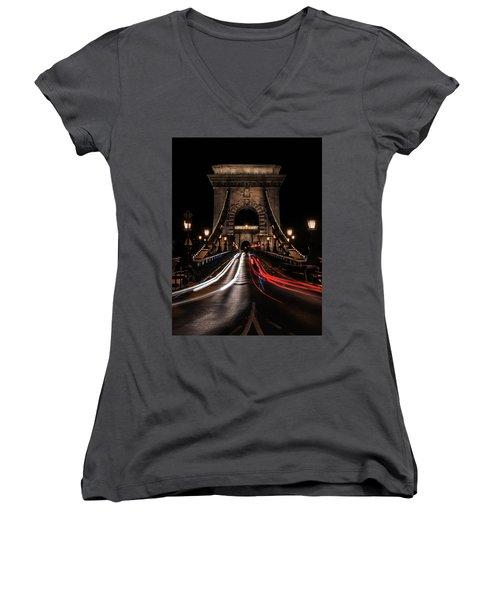 Bridges Of Budapest - Chain Bridge Women's V-Neck T-Shirt (Junior Cut) by Jaroslaw Blaminsky