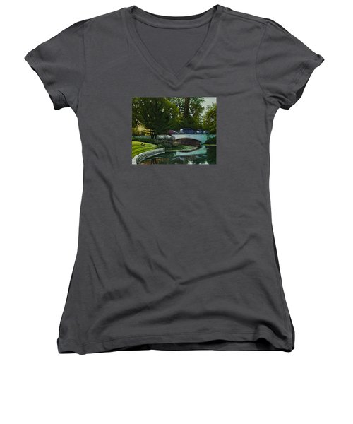 Women's V-Neck T-Shirt (Junior Cut) featuring the painting Bridges Of Forest Park V by Michael Frank