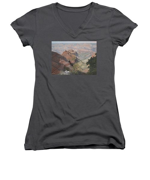 Bright Angel Trail Looking North To Plateau Point, Grand Canyon Women's V-Neck T-Shirt (Junior Cut) by Barbara Barber