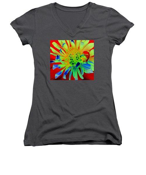 Bright Flower Women's V-Neck T-Shirt (Junior Cut) by Diane E Berry