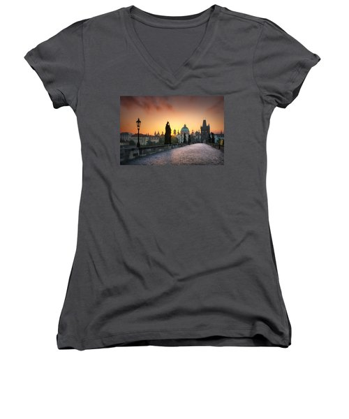 Bright Morning In Prague, Czech Republic Women's V-Neck T-Shirt