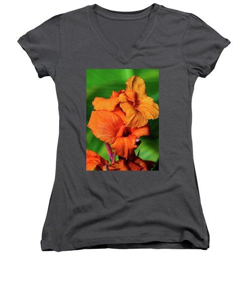 Bright Orange  Women's V-Neck (Athletic Fit)