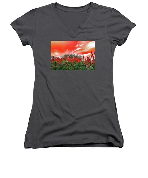 Women's V-Neck T-Shirt featuring the photograph Bright Red Aloe Flowers By Kaye Menner by Kaye Menner
